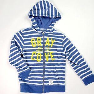 H&M Blue White Striped Zip Up Hoodie Sweatshirt